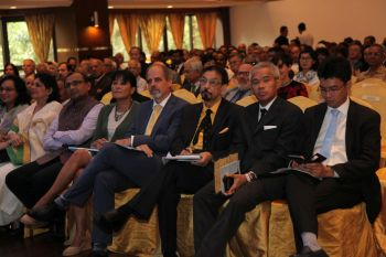 Mohamed Keshavjee (in yellow shirt) flanked by The Thai Ambassador to his right and the UN Resident Coordinator Stefan Preisner to his left. To Preisner's left is Mrs Preisner and to her left is the Indian High Commissioner to Malaysia H.E. T.S Tirumurti and Mrs Tirumurti. Photo credit: Parvaiz Machiwala