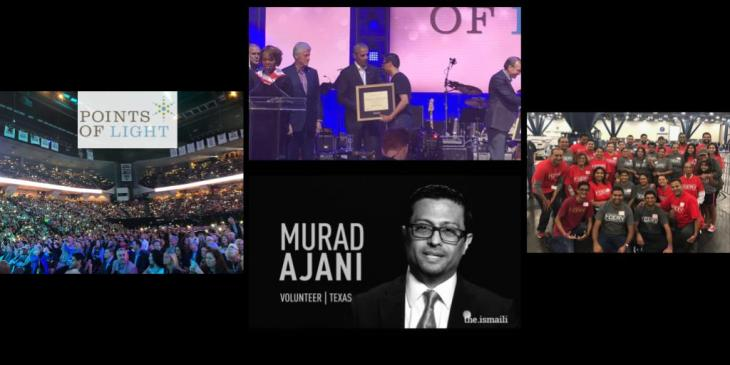Murad Ajani, President Southwest Ismaili Council of the United States of America, receives Points of Light Award from Five Former US Presidents
