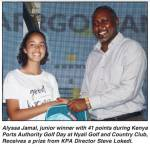 Alyssa Jamal, Junior Winner with 41 points during Kenya Ports Authority Golf Day at Nyali Golf and Country Club