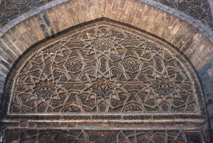 Geometric pattern in carved terracotta from the Madrasa al-Mustansiriyya, Baghdad, Iraq