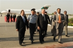 October 13, 2009: Interim Governor of Gilgit-Baltistan Qamar Zaman Kaira and The Aga Khan National Council President Iqbal Waljee receieve Prince Aga Khan on his arrival at the Benazir Bhutto International Airport on Tuesday (dated)