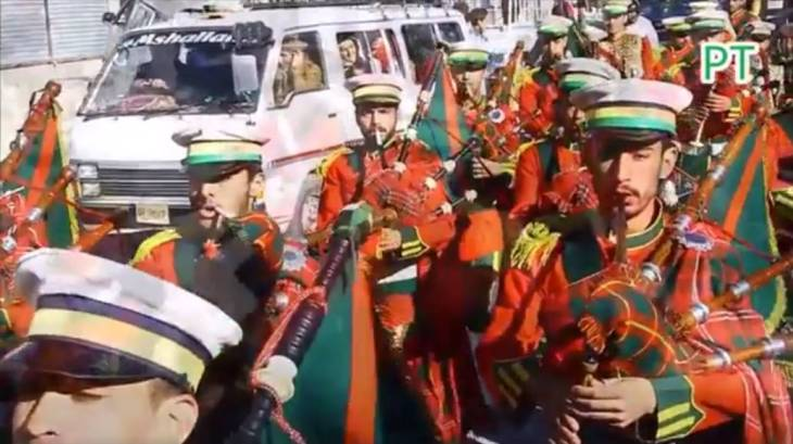 Pipe Bands from Hunza participate in a rally to celebrate the arrival of His Highness Prince Karim Aga Khan in Pakistan