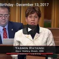 Member of Parliament, Yasmin Ratansi's Statement in the House of Commons on the occasion of Mawlana Hazar Imam's 81'st birthday - December 13, 2017