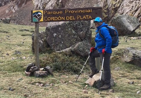 Girish Agrawal climbing Mount Aconcaguato support Aga Khan Foundation Canada