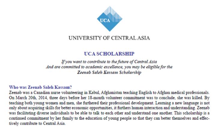 Zeenab Saleh Kassam Scholarship