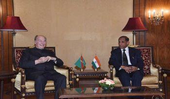 His Highness Prince Karim Aga Khan meeting Andhra Pradesh and Telangana Governor E.S.L Narasimhan