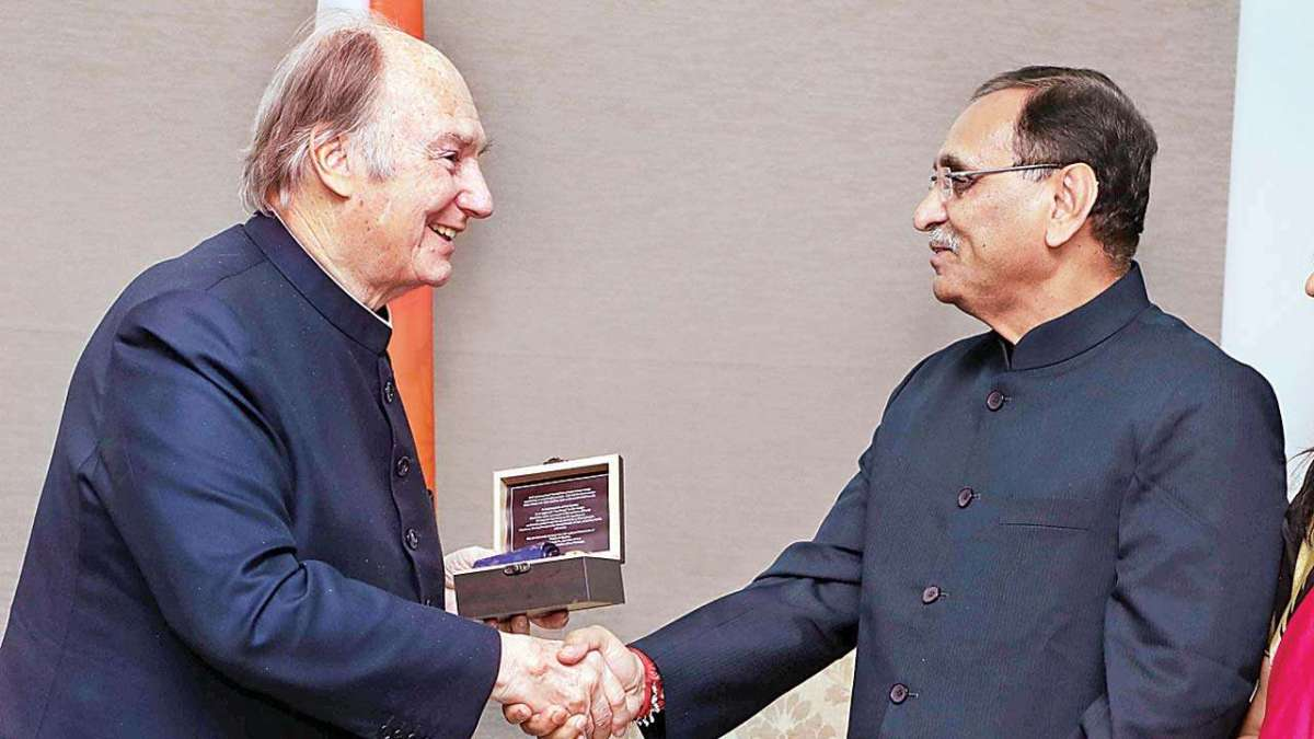 Prince Karim Aga Khan arrives in Ahmedabad, meets Chief Minister Vijay Rupani, Governor O.P.Kohli