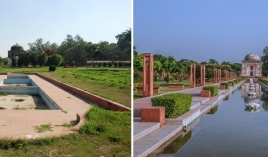 Left: Area around Sunder Burj in 2008 - Right: Sunder Nursery Central Axis after restoration. The design of this 560 m vista is inspired by the Persian carpet design and includes a central portion that in future years will form the heart of Sunder Nursery for visitors. AKTC
