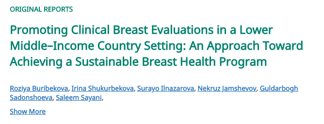 Promoting Clinical Breast Evaluations in a Lower Middle–Income Country Setting: An Approach Toward Achieving a Sustainable Breast Health Program
