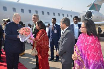His Highness Prince Karim Aga Khan arrives in Hyderabad, India