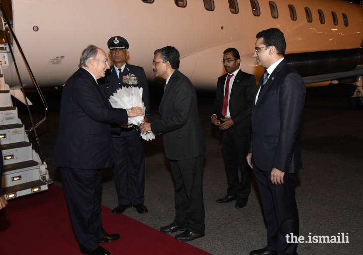 His Highness Prince Karim Aga Khan arrives in India