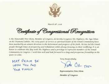 US Congressman Pete Olson awards Certificate of Congressional Recognition to His Highness the Aga Khan