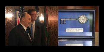 Mayor of Sugar Land Texas USA Presents The Key to the City to His Highness the Aga Khan
