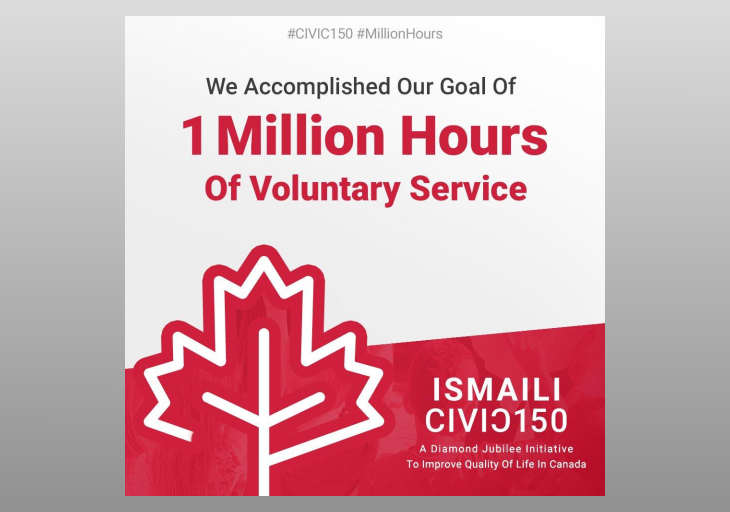 Ismaili Muslim Community Exceeds Its Pledge of One Million Hours of Volunteering Service for Canada