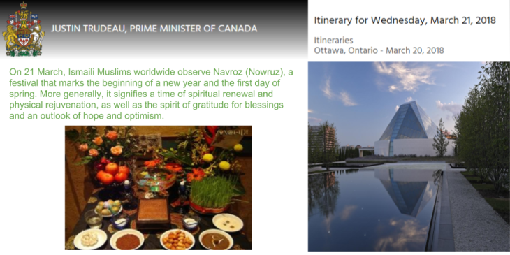 Prime Minister of Canada to Celebrate Navroz at the Ismaili Centre Toronto