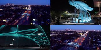 Houston: City Hall Downtown and Cross Bridges lit up in Teal color to mark the Diamond Jubilee celebrations of His Highness the Aga Khan