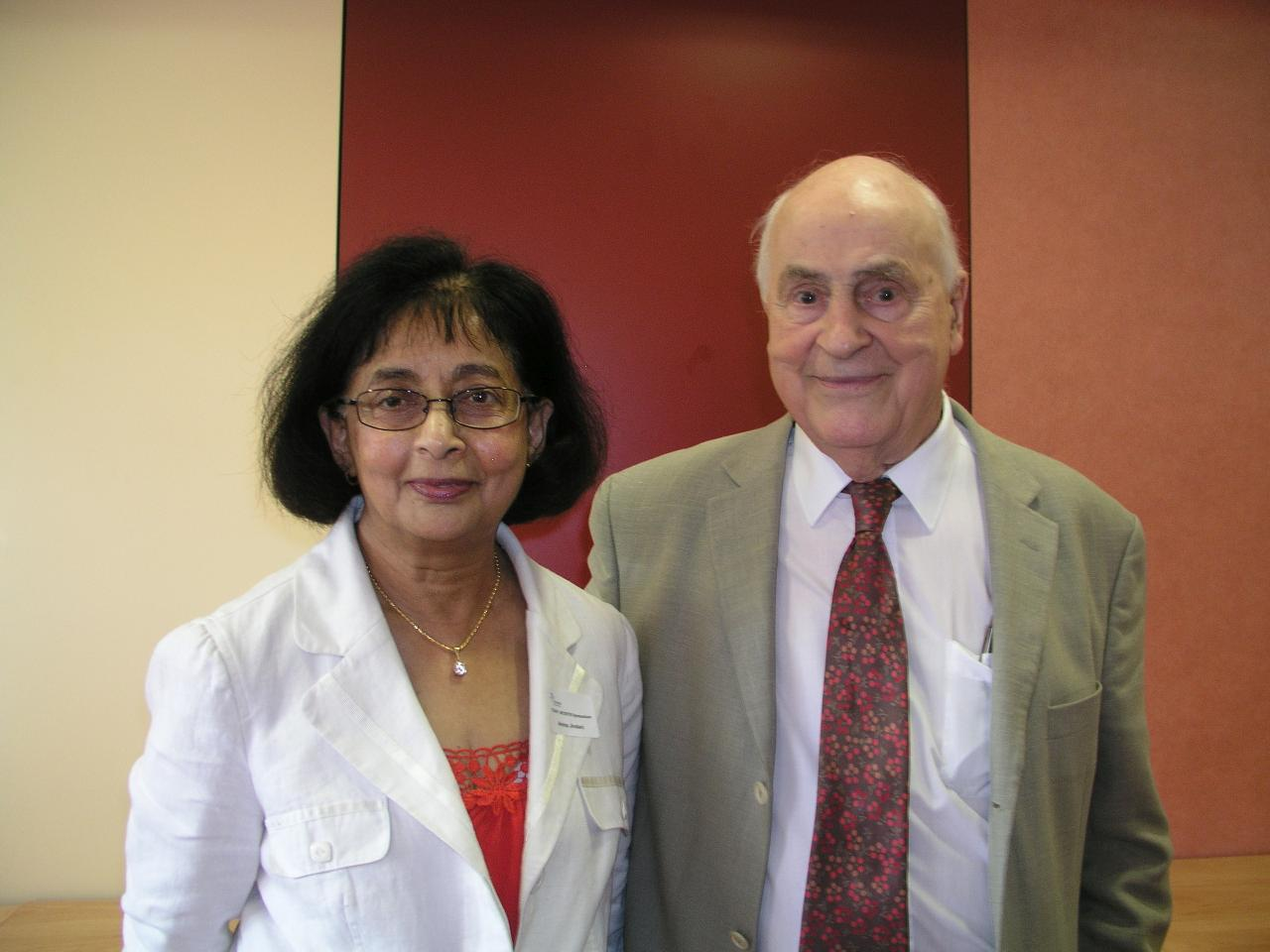 With Professor Denny Mitchison at a Symposium given in honour of his 90th birthday, at St. George's, University of London, Tooting, in September, 2009.