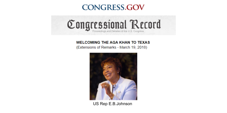 Congressional Record: Welcoming His Highness the Aga Khan IV to Texas - Remarks by Hon. Eddie Bernice Johnson   Congress.gov
