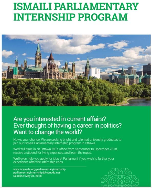 Parliamentary Internship opportunities for Ismaili graduates