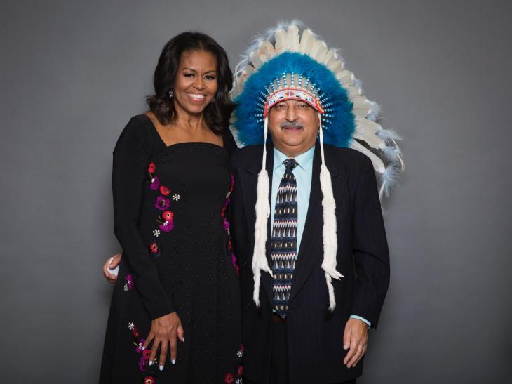 """""""Chief"""" Moez with Michelle Obama, the former US First Lady, in Calgary, Alberta."""