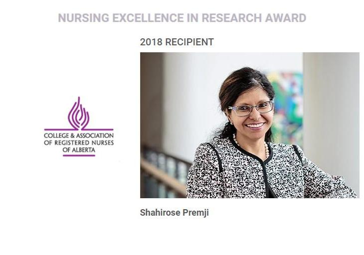 Dr. Shahirose Premji receives Nursing Excellence in Research Award 2018 | UCalgary Nursing