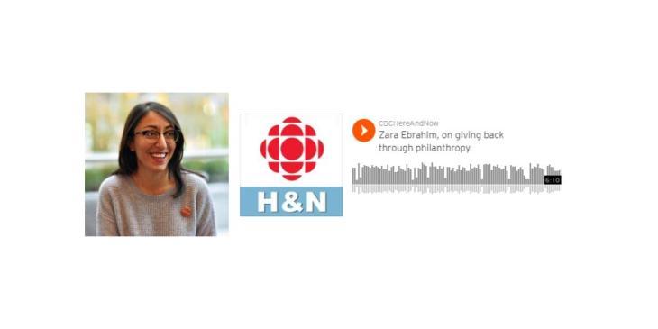 Zara Ebrahim, on giving back through philanthropy | CBC Here and Now
