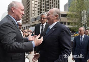May 4, 2018: Mawlana Hazar Imam met with the Honourable John Horgan, Premier of British Columbia, who extended a warm welcome and congratulated him on his Diamond Jubilee.