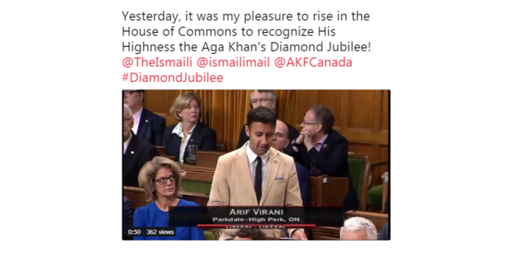 MP Arif Virani welcomes His Highness the Aga Khan to Canada in House of Commons