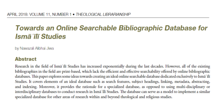 "Nawazali A. Jiwa's study: ""Towards an Online Searchable Bibliographic Database for Ismaili Studies"""