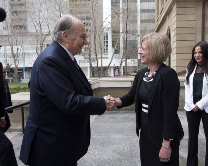 Premier Rachel Notley: A great honour to welcome His Highness the Aga Khan to Alberta today