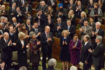 His Highness the Aga Khan receives a standing ovation at the conclusion of his address to both houses of Parliament in Ottawa, Canada, February 2014. - Photo credit: AKDN / Zahur Ramji