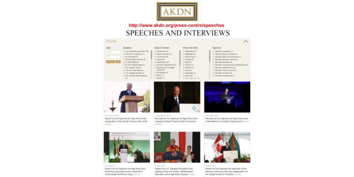 AKDN's Speeches & Interviews: A single, authorized source of all the words of wisdom