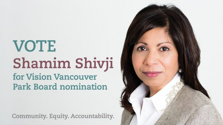Lawyer Shamim Shivji stands for Vision Vancouver Park Board Nomination