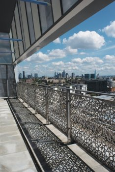The Aga Khan Centre's Terrace of Discovery: This terrace is inspired by the talar, a Persian throne and a place to address congregations. Under the translucent glass and mesh vault of the roof, visitors can enjoy spectacular views over London's skyline.