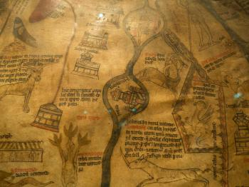 The detail of the Mappa Mundi ca 1300 on show in Hereford Cathedral. Photo Russell Harris