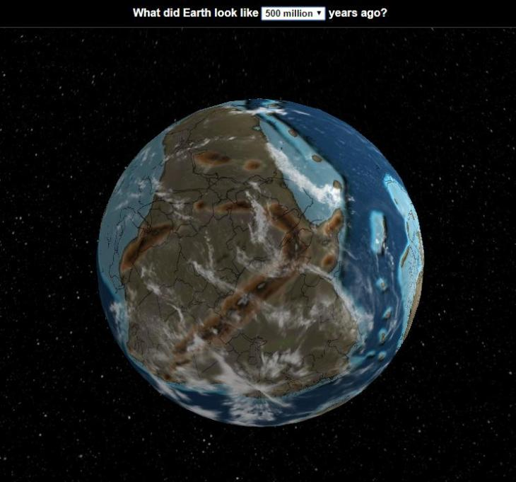 See how Earth looked at various stages in its evolution, from 600 million to 20 million years ago