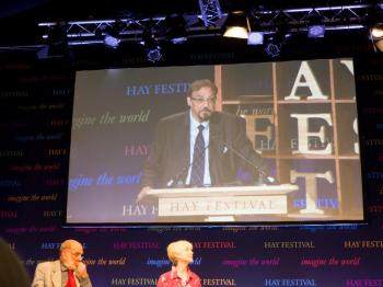 Dr Keshavjee on stage at Hay-on-Wye - Hay Festival 2018. The Ronald Higgins Memorial Lecture - Mediation and Restorative Justice. Friday 1 June 2018. Photo Russell Harris