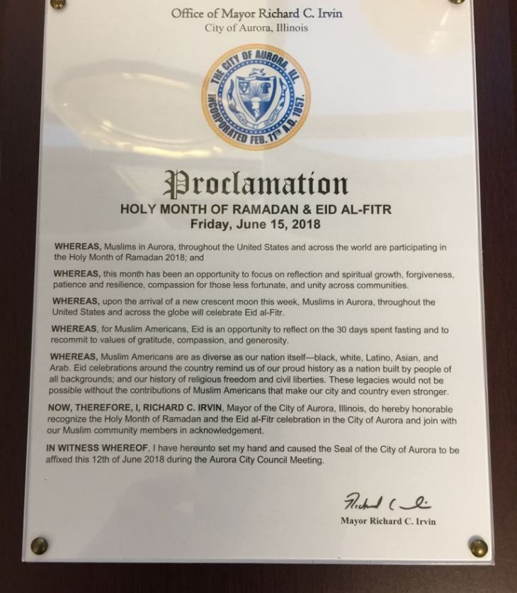 City of Aurora Illinois proclaims Holy Month of Ramadan & Eid al-Fitr