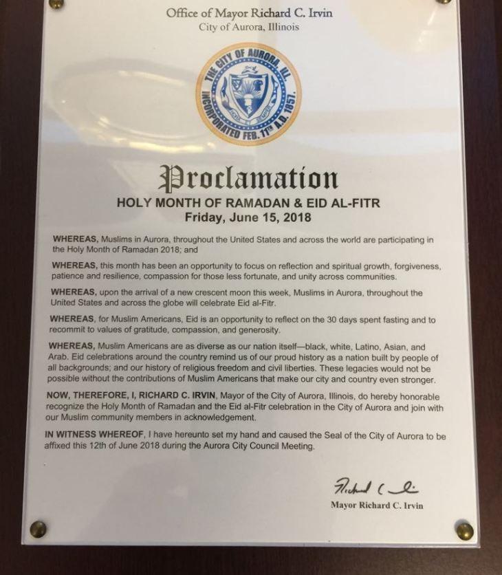 City of Aurora Illinois proclaims Holy Month of Ramadan & Eid al-Fitr