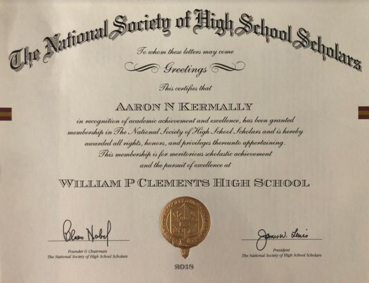 Atlanta: Student Aaron Kermally receives National Honor