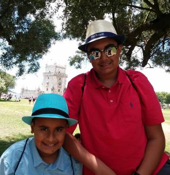 Maherali brothers, Qayl & Riyaan at the Tower of Belem, UNESCO World Heritage Site