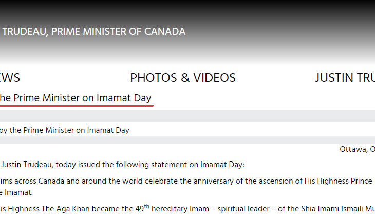 Prime Minister of Canada sends Imamat Day greetings on the anniversary of the ascension of His Highness Prince Karim Aga Khan IV to the Throne of the Imamat