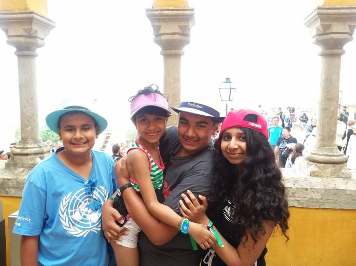 Maherali brothers, Qayl and Riyaan with their cousins, Alyna and Antalya Nanji at the courtyard inside Sintras spectacular Pena Palace