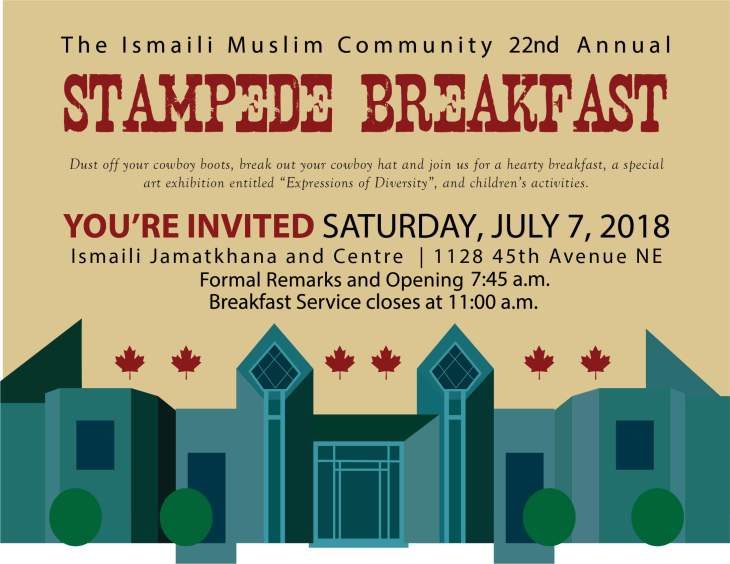 Ismaili Muslim Community to Host 22nd Annual Stampede Breakfast 2018 in Calgary
