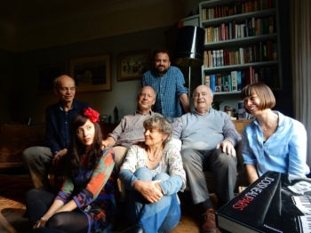 At home in Richmond, London, on his 96th birthday with his three children and three grandchildren. Photo credit: Terence Mitchison