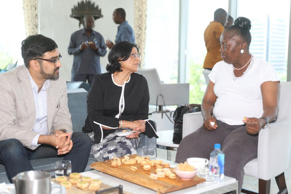 Left to right: AKDN official Alnoor Maherali, Ismaili Council for Ontario President Sheherazade Hirji and Speaker Rebecca Kadaga at AKM Patrons Lounge in Canada on July 10.