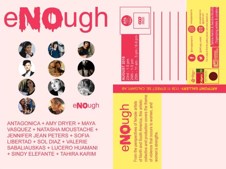 "Invitation to ""eNOugh"" - curated by Tahira Karim and Sandra Murillo"
