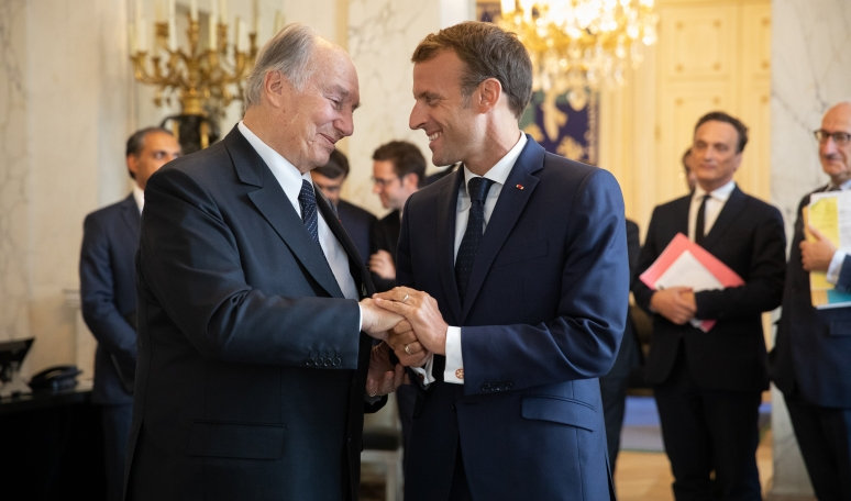 President of France, Emmanuel Macron receives His Highness the Aga Khan at Élysée Palace