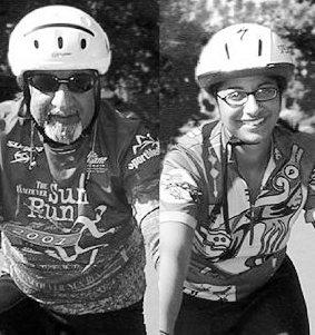 Harji and daughter Ayesha cycling thrugh Africa