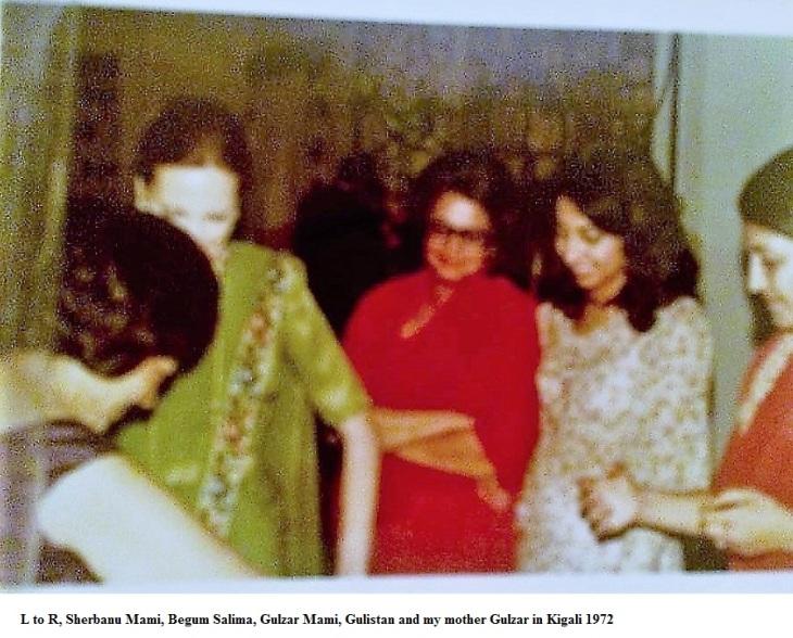 l to r, sherbanu mami, begum salima, gulzar mami, gulistan and my mother gulzar in kigali 1972